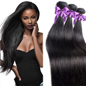 "IUEENLY Hair 100% Unprocessed Virgin Brazilian Straight Human Hair Weave Extensions 3 Bundles Straight Virgin Hair 18""20""22"""