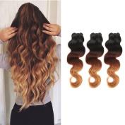 100% Virgin Brazilian Hair Extensions Grade 7A Quality 41cm - 60cm Weave Weft Thick Body Wave Hairs 3 Bundles 300g,60cm / 60cm , Ombre Colour