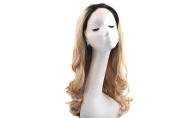 THINKSHOW Ombre Blonde Glueless 2 Tones Heat Resistant Synthetic Lace Front Wig Body Wavy Natural Long Blonde Wig for Women