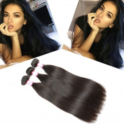 B & P Hair 18 20 60cm Brazilian Hair Straight 3 Bundles, 95-100g/Bundle, 6A Unprocessed Brazilian Virgin Human Hair Extensions Natural Colour Hair Weave
