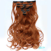 NiCheng 50cm 130g 7pcs/set Curly Full Head Clip-in Hair Extensions Synthetic Women's Hairpieces