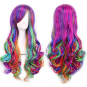 Idealgo 70cm Women's Full Wig Long Curly Hair Heat Resistant Wigs Hair Wigs Costume Wigs for Cosplay/Party Lolita Custom Cosplay Party Wig with free wig cap