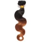 Rosette Hair Bundles Brazilian Ombre Virgin Hair Body Wave Hair Extension/Weft 100% Unprocessed Remy Virgin Human Hair TwonTone colour Natural Black 1b /30# Size 30cm - 60cm