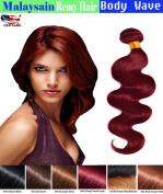 eCowboy 6A Malaysian Human Hair Body Wave Hair Bundle  .   Best Quality Hair Extensions Weft 100 Human Hair Weave GUARANTEED Purplish Red #99J colour - 60cm