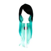 Haku - Natural Black Fade to Mint Green Wig 70cm Long Straight Layered