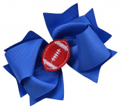 Girls Football Hair Bow 11cm Embroidered Football Team Hair Bow