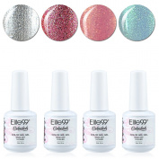 Qimisi Soak Off Gel Polish Lacquer UV LED Nail Art Manicure Kit 4 Colours Set LM-C166 + Free Gift