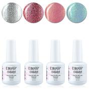 Qimisi Soak Off Gel Polish Lacquer UV LED Nail Art Manicure Kit 4 Colours Set LM-C166 + Free Gift