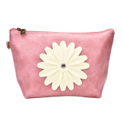 Bestrice Cosmetic Bag Sunflower Trapezoid Portable Handbag/Wrist Bag/Clutch Bag/Cell Phone Bag/ Ladies Purse - Pink