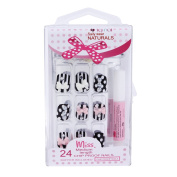 Damara Womens 24 PCS Art Nail Tips Natural Acrylic Full Cover False Nail,024