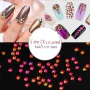 Perfect Summer 1440pcs DIY Nail Art Design AB Red Colour Series Flatback Rhinestones Little Beads Gems Micro Crystal Diamond Decorations for Nail Salon
