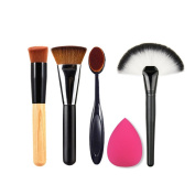 Idealgo Oblique Head Blusher Powder Wood Handle and 163 Flat Contour Face Cheeks Blend Brusher and Large Fan Oval with Toothbrush Curve Contour Brushes and Blender Sponge PUFF