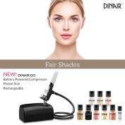 Dinair Go! Starter & Pro Kit   Battery Powered Portable Airbrush Makeup System   Fair Shades   Foundation, Blush, Bronzer Set