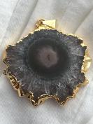 Natural Uruguayan Stalactite Slice Gold Plated 5mmx35mmx38mm Pendant LN0001 AZ0013