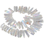SUNYIK White AB Titanium Coated Crystal Points Quartz Rough Sticks Spikes Point Beads 38cm Strand Drilled