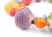 Recycled Paper Bead Necklace from Uganda - Fair Trade African Woman's Jewellery - Necklace with Clasp