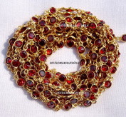 One Foot Red Garnet Zircon 4 mm Round 24k Gold Plated Bezel Continuous Connector Chain.