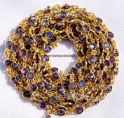 One Foot Amethyst Zircon 4 mm Round 24k Gold Plated Bezel Continuous Connector Chain.
