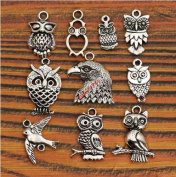 10 Mixed Tibetan Silver Plated Birds Owl Charm