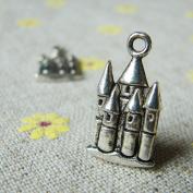 Antique Silver Castle Charms 20x13mm - 15 Pcs