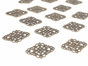 40pcs Antique Bronze Tone Filigree Hollowed-out Flower Plate rhombic Charms Pendant Connectors for DIY Crafting, Jewellery Making Wrapping Accessories By Alimitopia