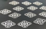 40pcs Antique Silver Tone Filigree Hollowed-out Flower Plate rhombic Charms Pendant Connectors for DIY Crafting, Jewellery Making Wrapping Accessories By Alimitopia