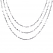 eBoot 12 Pieces Plated Chain Link Curb Necklaces with Lobster Clasp, 18, 24 and 80cm , Silver