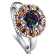 Narica Womens Brilliant 6mmx8mm Marquise Cut Rainbow Topaz CZ Engagement Ring