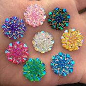10pcs 18mm Assorted Colours AB Resin Flower Rhinestone Embellishments Flat Back Decoration 2 hole Buttons Sew On Clothes Garment DIY