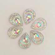20pcs AB Resin Peacock Teardrop Flat Back Rhinestone Wedding Decoration 2 Hole Craft Buttons Sew On Garment DIY