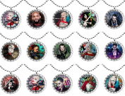 15 SUICIDE SQUAD Flat Bottle Cap Necklaces for Birthday, Party Favours, Bag Fillers A1