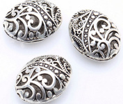10pcs Antique Tibetan Silver Ellipse Shaped Hollow Spacer Oval Beads Handcrafts Finding Jewellery Making DIY
