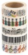 Washi Tape (Japanese Masking Tape) by MIKOKA, 1.5cm Wide, 10m Long, Set of 5 - Music