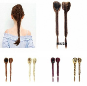FESHFEN Long Cute Fishtail Braided Ponytail Clip in/on Braided Rope Hair Chignon Drawstring Braid Fishtail Plait Ponytail Hair Extensions Hairpiece 50cm 19 Inch 130g Medium Brown and Light Auburn