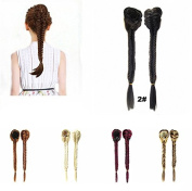 FESHFEN Long Cute Fishtail Braided Ponytail Clip in/on Braided Rope Hair Chignon Drawstring Braid Fishtail Plait Ponytail Hair Extensions Hairpiece 50cm 19 Inch 130g 2# Darkest Brown