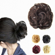 FESHFEN Scrunchy Scrunchie Bun Updo Hairpiece Hair Ribbon Ponytail Hair Extensions Wavy Curly Messy Hair Bun Extensions Donut Hair Chignons Piece Wig-M2/33 Darkest Brown & Dark Auburn Mixed