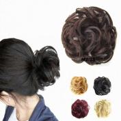 FESHFEN Scrunchy Scrunchie Bun Updo Hairpiece Hair Ribbon Ponytail Hair Extensions Wavy Curly Messy Hair Bun Extensions Donut Hair Chignons Piece Wig-M2/33 Darkest Brown & Dark Auburn Mixed