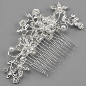 Click Down Bridal Wedding Jewellery Crystal Rhinestone Pearl Flowers Hair Comb Pin Silver