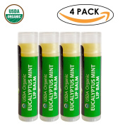 USDA Organic Lip Balm by Sky Organics - 4 Pack Eucalyptus Mint Lip Balms -- With Beeswax, Coconut Oil, Vitamin E. Best Lip Plumper Chapstick for Dry Lips- Adults Lip Repair. Made In USA