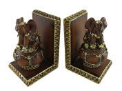 Pair of Balancing Elephant Bookends Wood Finish Gold Accents