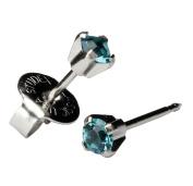 Silver Mini 3mm Blue Green December Birthstone Ear Piercing Earrings Hypoallergenic Studex System 75