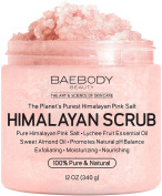Baebody Himalayan Salt Body Scrub - Deep Cleansing Exfoliator with Lychee Essential Oil and Sweet Almond Oil, Moisturises Nourishes Soothes & Promotes Glowing Radiant Skin, Natural Body Wash, 350ml