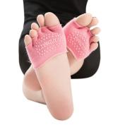 Tenworld Women Invisible Yoga Gym Non Slip Toe Socks Half Grip Heel Five Finger Socks