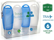 TSA Approved Silicone Travel Bottles Kit 90ml Set of 4 - Leak Proof BPA Free Toiletries Containers w/ Clear Toiletry Bag