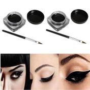 Kinghard 2 PCS Mini Eyeliner Gel Cream With Brush Makeup Cosmetic Black Life Waterproof Eye Liner