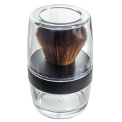 Kabuki Sable Brown Nylon Bristle Brush Sifter Jar - Empty Refillable Travel Jar with Mirror for Mineral Makeup, Powders, Custom Foundations