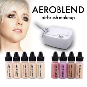 Aeroblend Airbrush Makeup Personal Starter Kit - Professional Cosmetic Airbrush Makeup System - LIGHT Foundation - Colour Match Guarantee - Full 1-Year Warranty