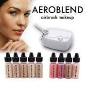 Aeroblend Airbrush Makeup Personal Starter Kit - Professional Cosmetic Airbrush Makeup System - TAN Foundation - Colour Match Guarantee - Full 1-Year Warranty