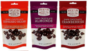 Creative Snacks Bag - Variety Pack w/ (4 Dark Chocolate Almonds, 4 Dark Chocolate Cranberries, 4 Espresso Beans. 100ml/12 bags
