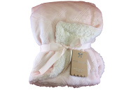 Monlapin Luxury Baby Blanket 80cm X 100cm , Clolor Light Pink/White Sherpa Side